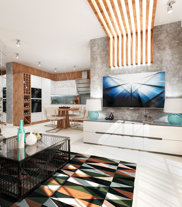 Квартира холостяка в Сочи Гостиная в стиле модерн от Настасья Евглевская Модерн