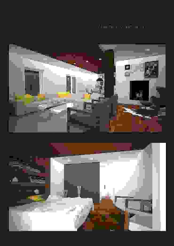 Infografia salon- dormitorio principal de CASTSHINE Minimalista