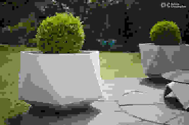 Femkant Outdoor Concrete Planter In White Adam Christopher Design Garden Plant pots & vases Concrete White