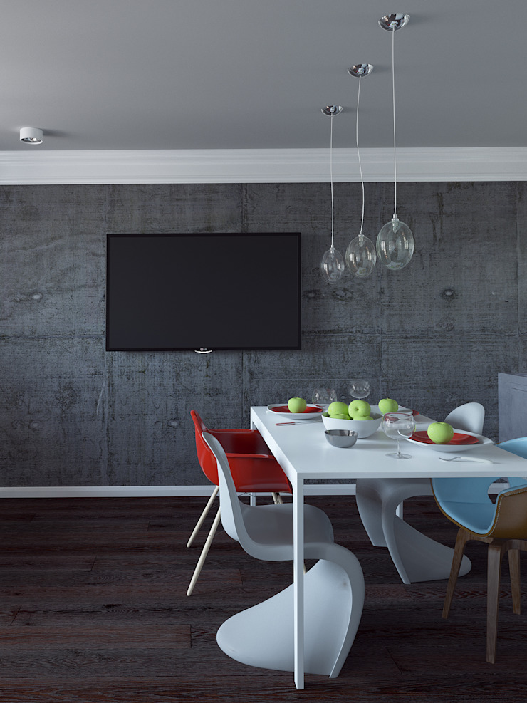 Квартира студия с бетонной стеной и яркими красными объектами Кухни в эклектичном стиле от Nataly Liventsova Эклектичный