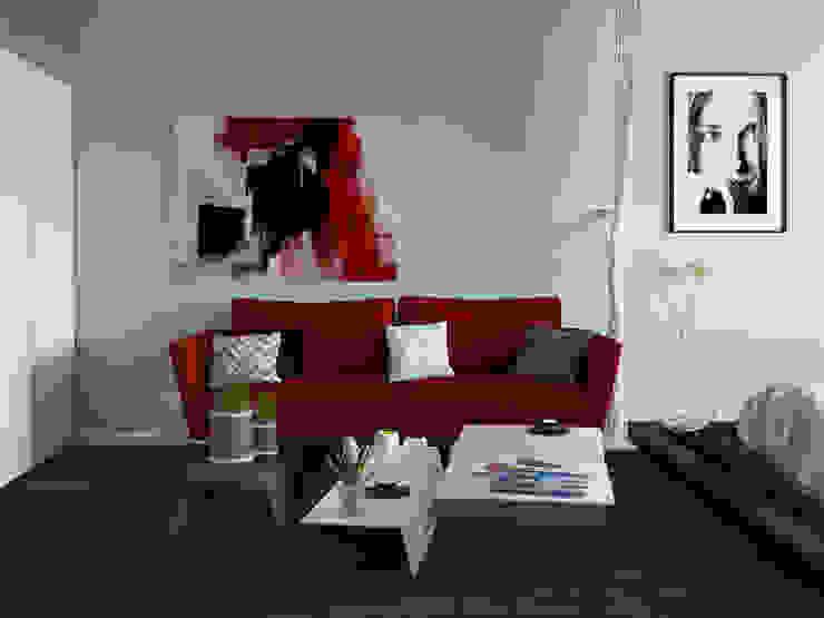 Квартира студия с бетонной стеной и яркими красными объектами Гостиные в эклектичном стиле от Nataly Liventsova Эклектичный