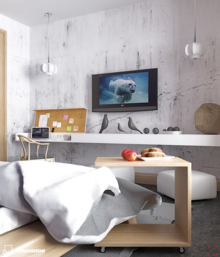 Piece of wood Industrial style bedroom by Seryjny Projektant Industrial