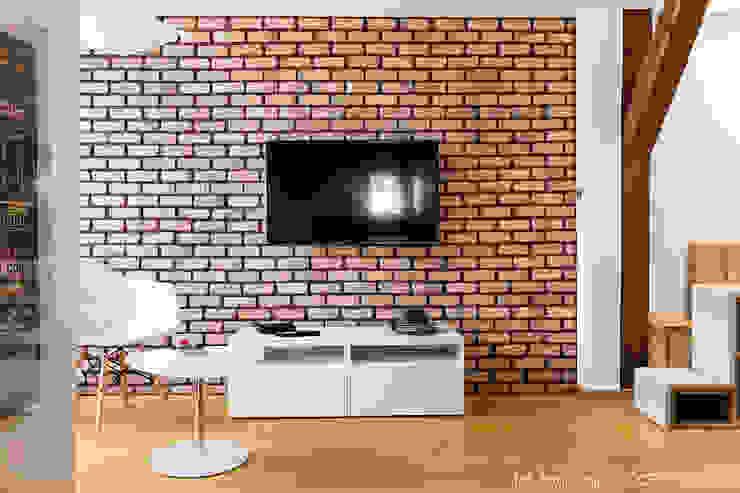 poddasze na Powiślu - wg www.gackowska.pl: styl , w kategorii Salon zaprojektowany przez GACKOWSKA DESIGN,Nowoczesny
