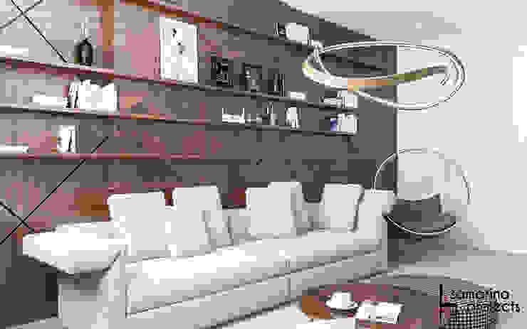 """Дизайн квартиры """"Уютная студенческая квартирка"""" Гостиная в стиле минимализм от Samarina projects Минимализм"""