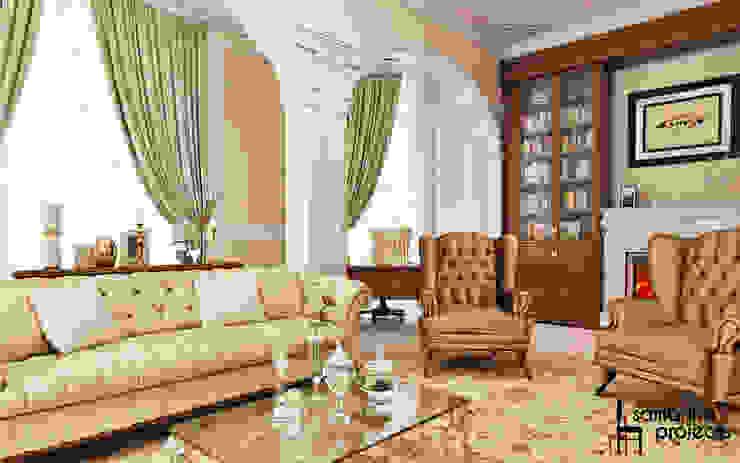 """Дизайн квартиры """"Легкая классика"""" Гостиная в классическом стиле от Samarina projects Классический"""