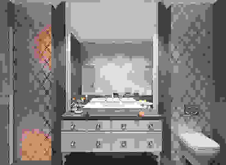 Двухкомнатная квартира. Застройщик Шелдом Ванная комната в эклектичном стиле от D+   интерьерное бюро Эклектичный