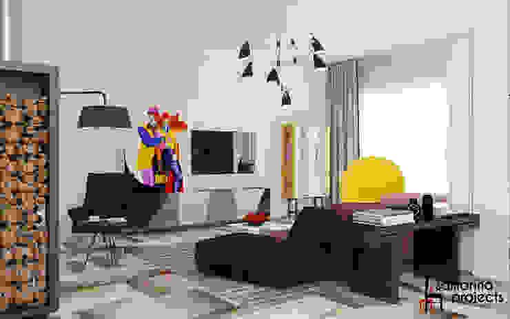 "Дизайн загородного дома ""Чистота стиля"" Гостиная в стиле минимализм от Samarina projects Минимализм"