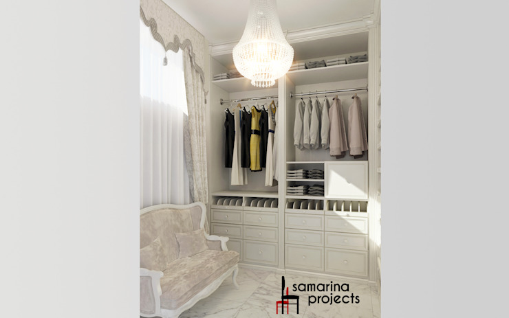 """Дизайн загородного дома """"Мечта каждой девушки"""" Гардеробная в классическом стиле от Samarina projects Классический"""