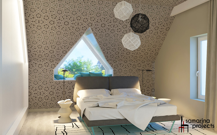 "Дизайн коттеджа ""В ритме загородной жизни"" Спальня в стиле минимализм от Samarina projects Минимализм"