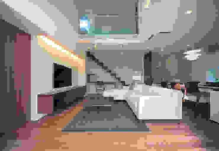 ISDアーキテクト一級建築士事務所 Modern Living Room Wood Brown