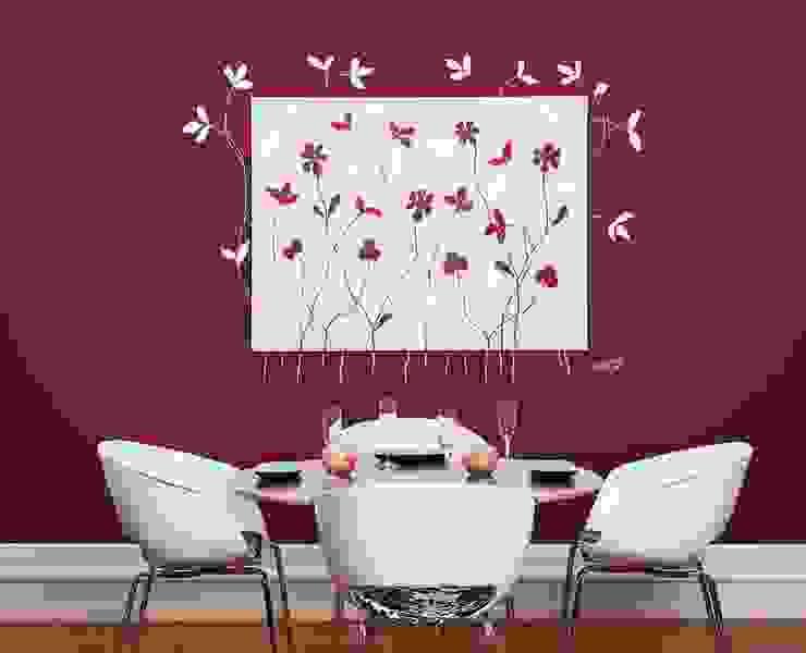 Cuadro de flores integrado en la pared Comedores de estilo moderno de Murales Divinos Moderno