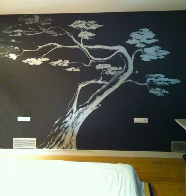 和風の 寝室 の Murales Divinos 和風