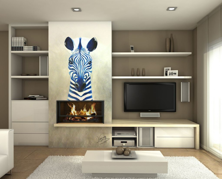 Zebra azul Salones de estilo moderno de Murales Divinos Moderno