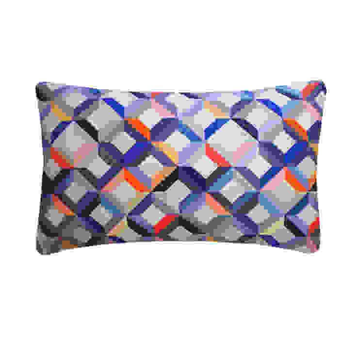 Chevron Printed Silk Cushion Coral Grey, 30x50cm Nitin Goyal London BedroomTextiles