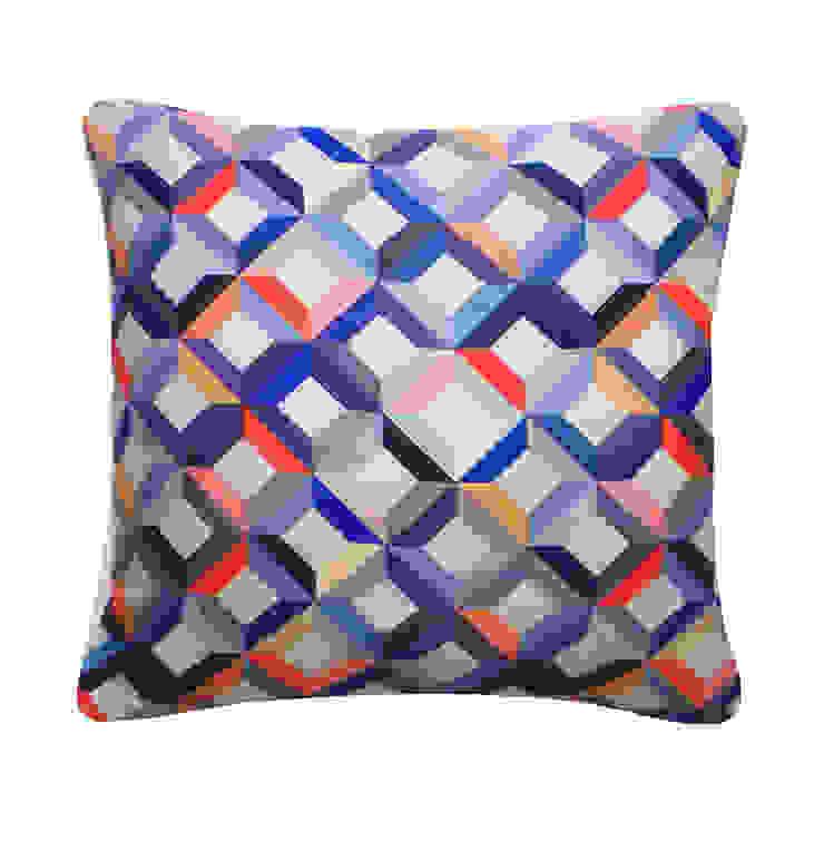 Chevron Printed Silk Cushion Coral Grey, 45x45cm Nitin Goyal London BedroomTextiles