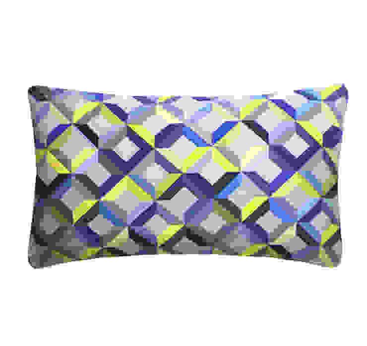 Chevron Printed Silk Cushion Lime Grey, 30x50cm Nitin Goyal London BedroomTextiles