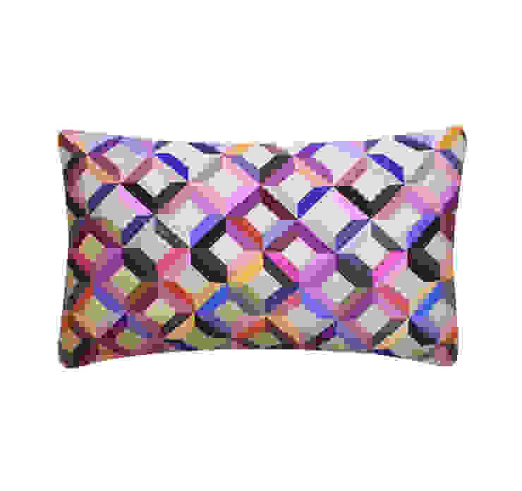 Chevron Printed Silk Cushion Multi, 30x50cm Nitin Goyal London BedroomTextiles