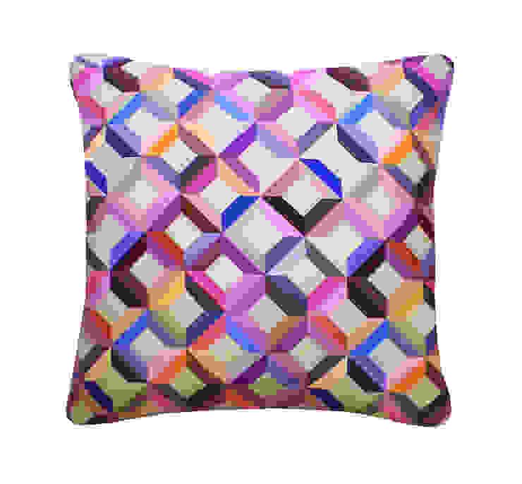 Chevron Printed Silk Cushion Multi, 45x45cm Nitin Goyal London BedroomTextiles