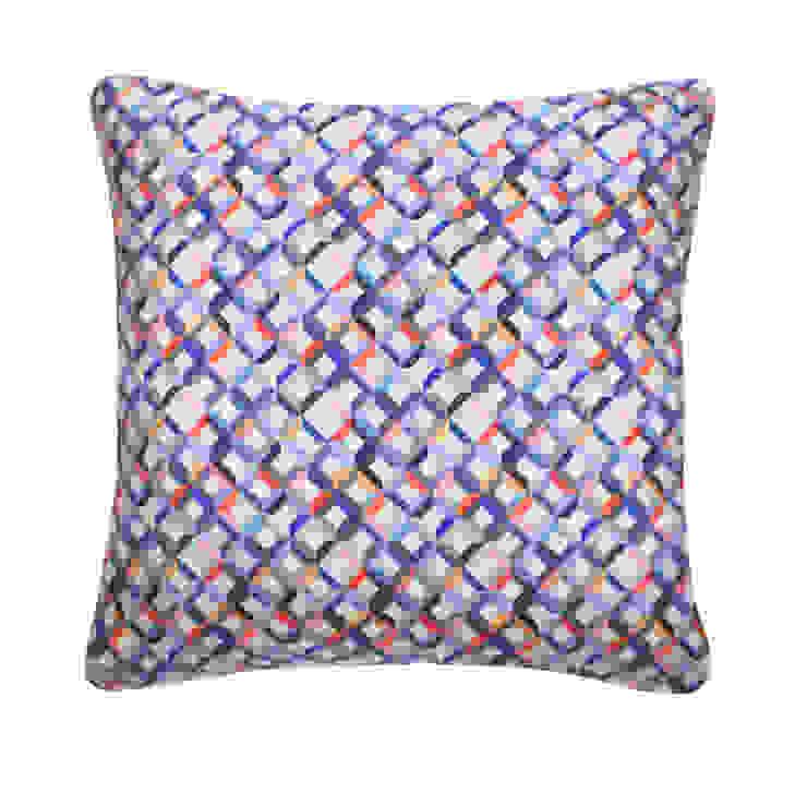 Small Chevron Printed Silk Cushion Coral Grey, 45x45cm Nitin Goyal London BedroomTextiles