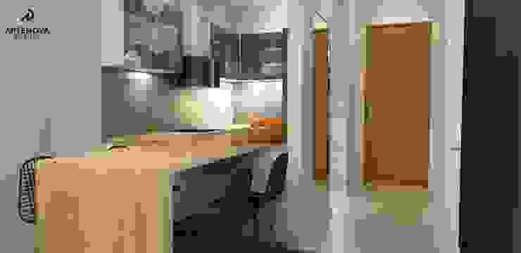 Mieszkanie Warszawa Minimalistyczna kuchnia od Artenova Design Minimalistyczny