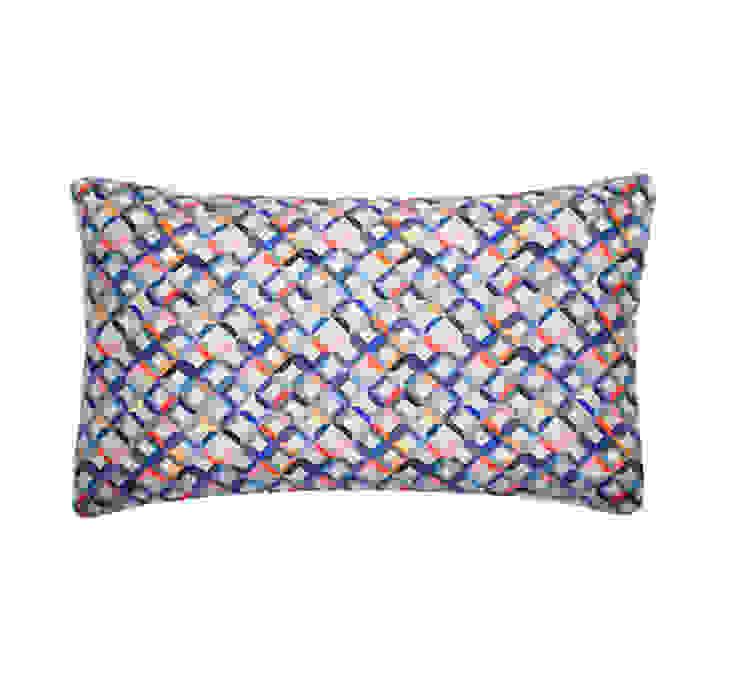 Small Chevron Printed Silk Cushion Coral Grey, 30x50cm Nitin Goyal London BedroomTextiles