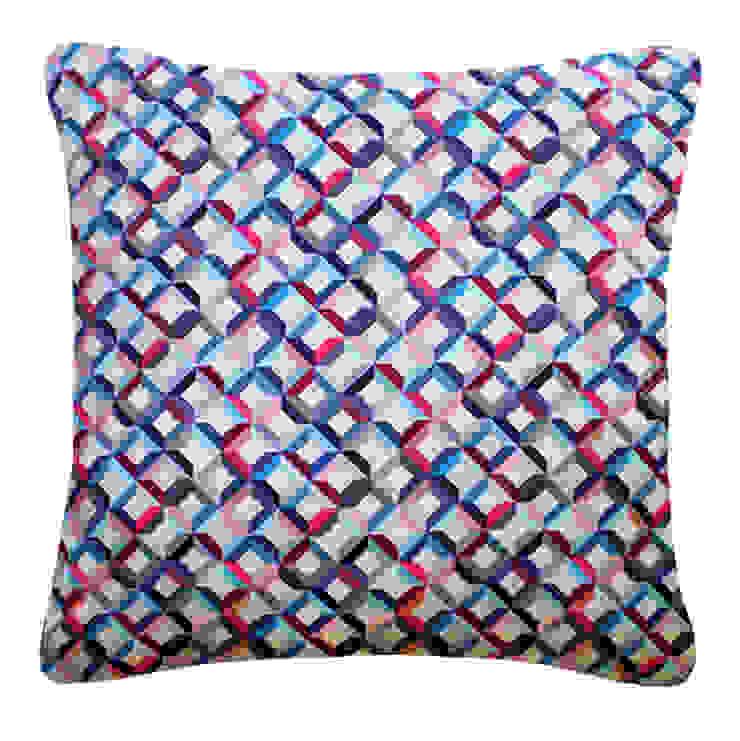 Small Chevron Printed Silk Cushion Pink Blue, 45x45cm Nitin Goyal London BedroomTextiles