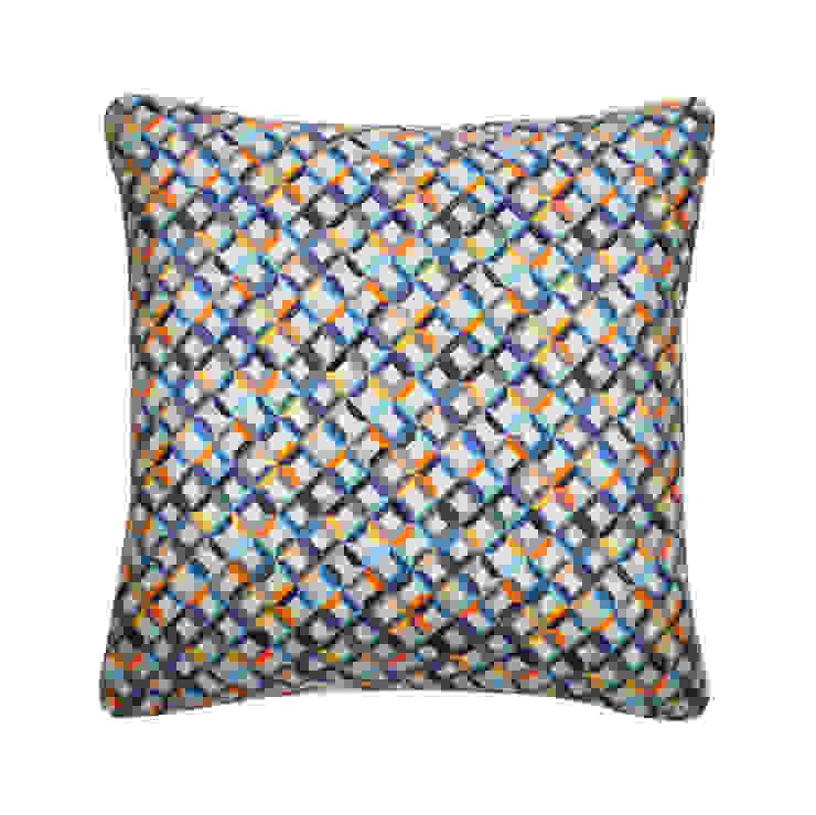 Small Chevron Printed Silk Cushion Teal Yellow, 45x45cm Nitin Goyal London BedroomTextiles