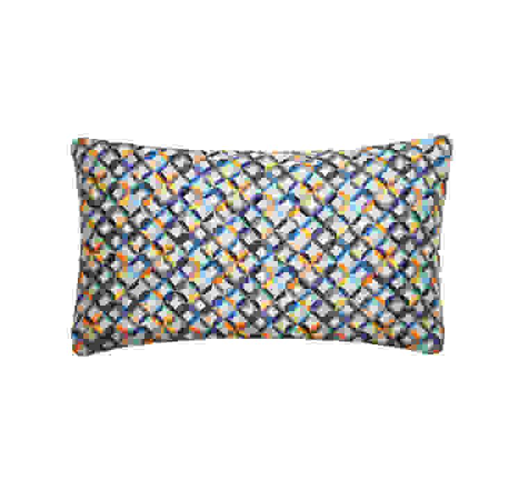 Small Chevron Printed Silk Cushion Teal Yellow, 30x50cm Nitin Goyal London BedroomTextiles