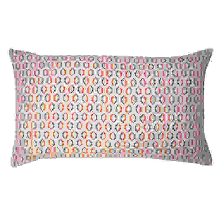 Duo Screen Printed Cushion in Persimmon/Grey, 30x50cm Nitin Goyal London BedroomTextiles