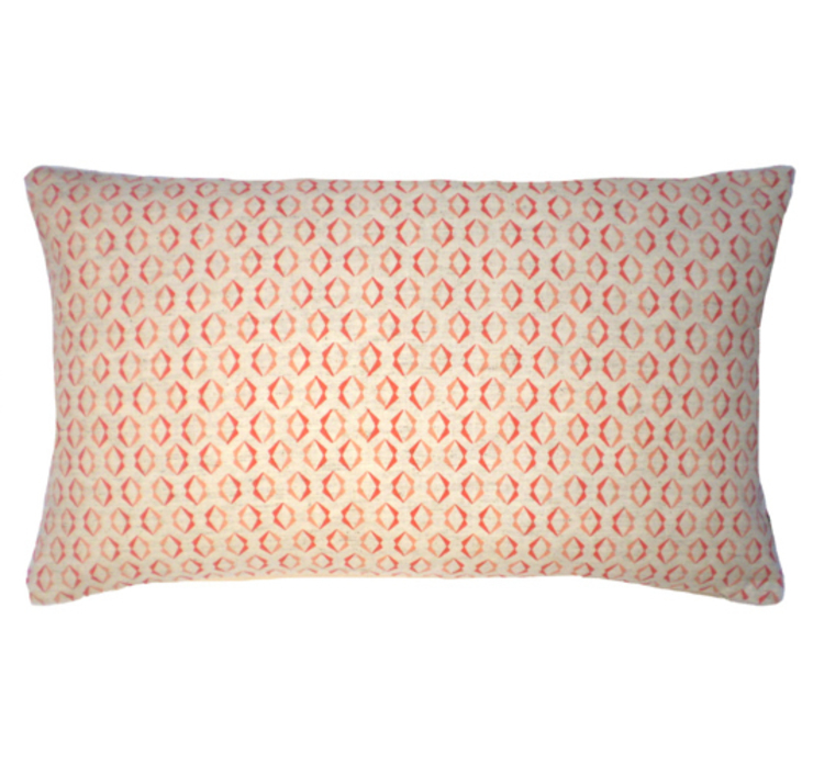 Duo Screen Printed Cushion in Soft Pink/Persimmon, 30x50cm Nitin Goyal London BedroomTextiles