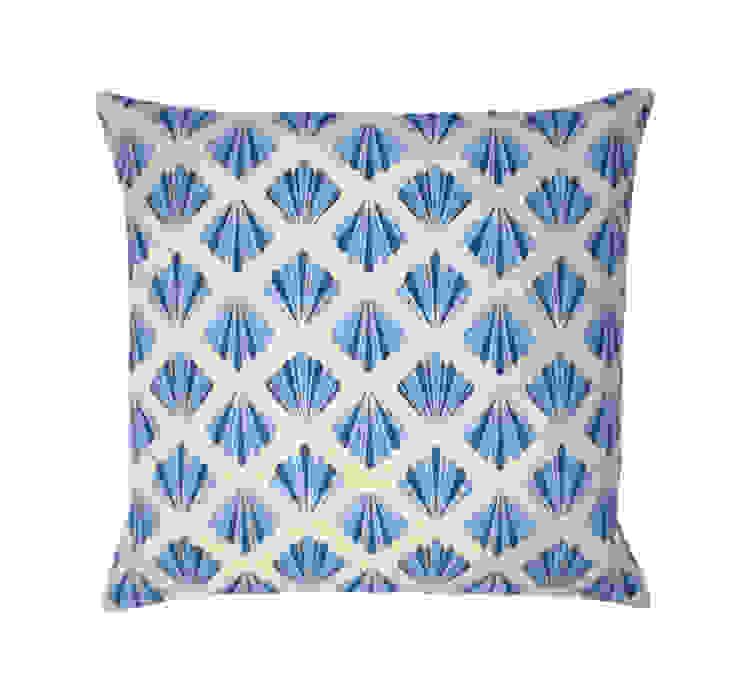 Petal Printed Cushion in Marine Blue, 40x40cm Nitin Goyal London BedroomTextiles