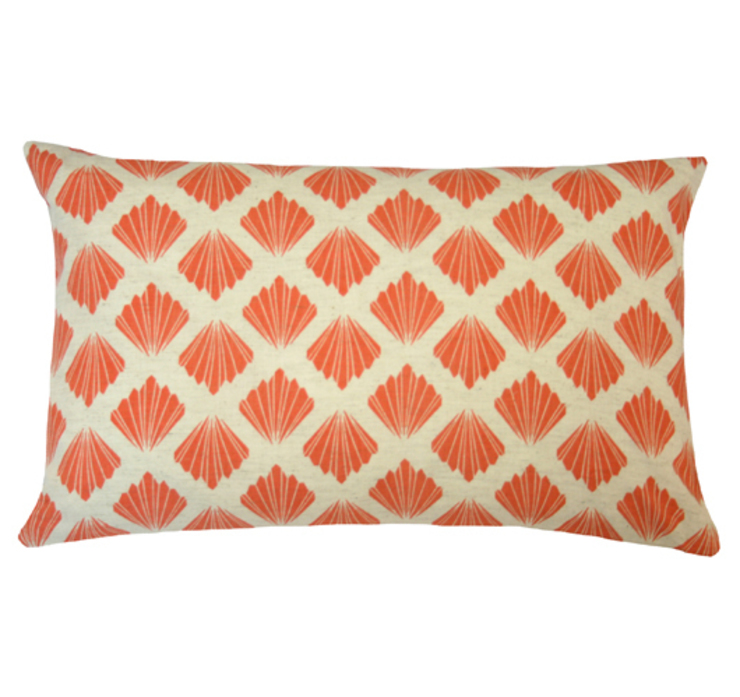 Petal Printed Cushion in Persimmon, 30x50cm Nitin Goyal London BedroomTextiles