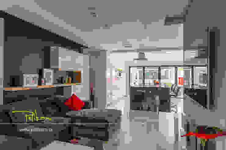 Dom w londynie Nowoczesny salon od PELIKAM Nowoczesny