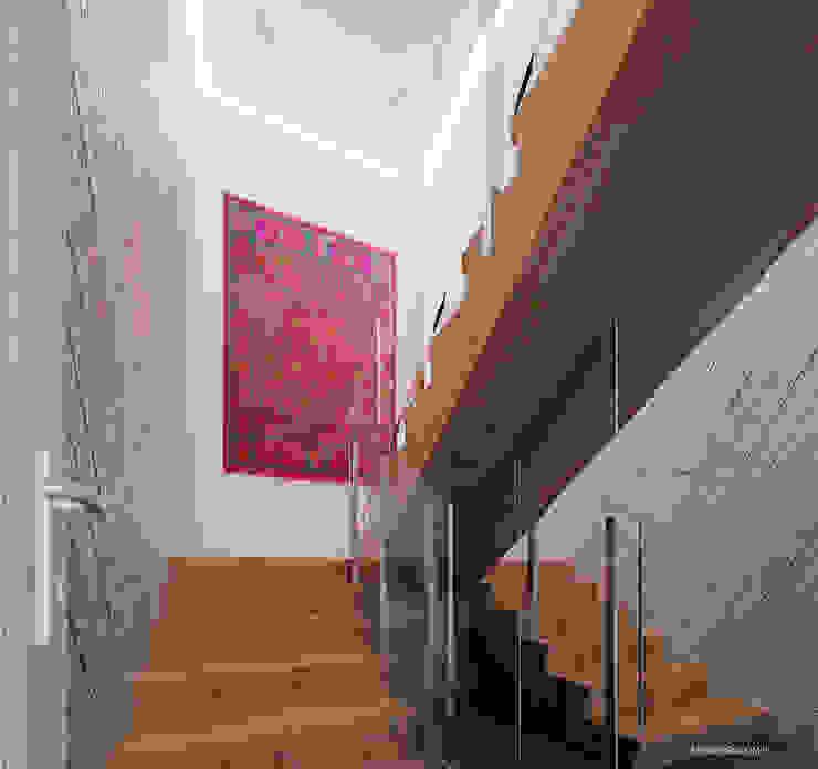 Projekt mieszkania 118m2 w Villa lux w Dąbrowie Górniczej Ale design Grzegorz Grzywacz Minimalistyczny korytarz, przedpokój i schody