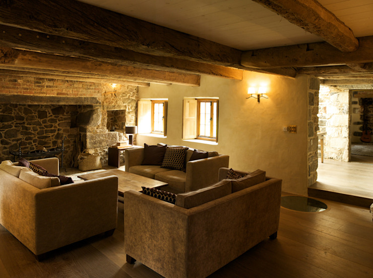 Les Prevosts Farm CCD Architects Rustic style living room