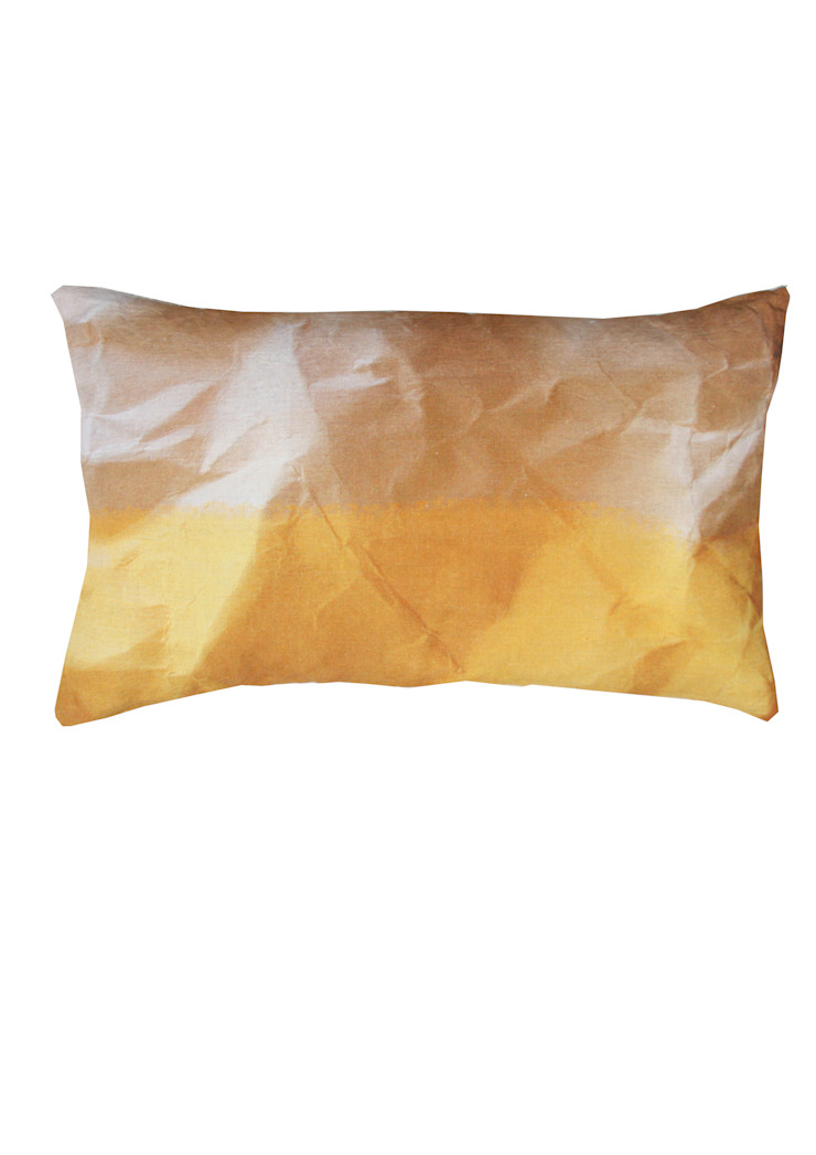 MELLO YELLOW CRINKLED PAPER PRINT CUSHION: modern  by Suzanne Goodwin , Modern