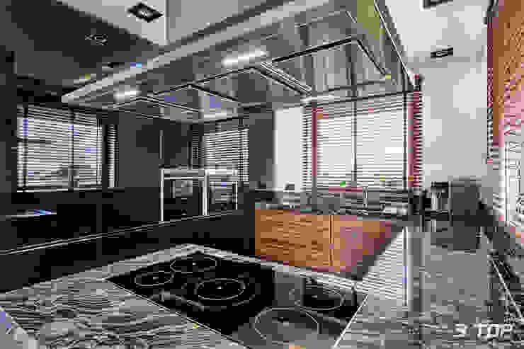 Meble na wymiar do kuchni w czarnej kolorystyce od 3TOP Nowoczesny