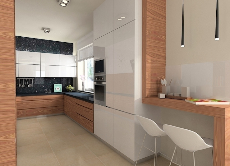 Projekt wnętrza domu w Łodzi Nowoczesna kuchnia od Projektowanie wnętrz Berenika Szewczyk Nowoczesny
