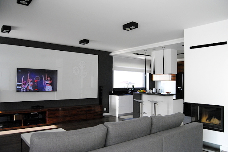 Projekt wnętrza domu w Łodzi Nowoczesny salon od Projektowanie wnętrz Berenika Szewczyk Nowoczesny