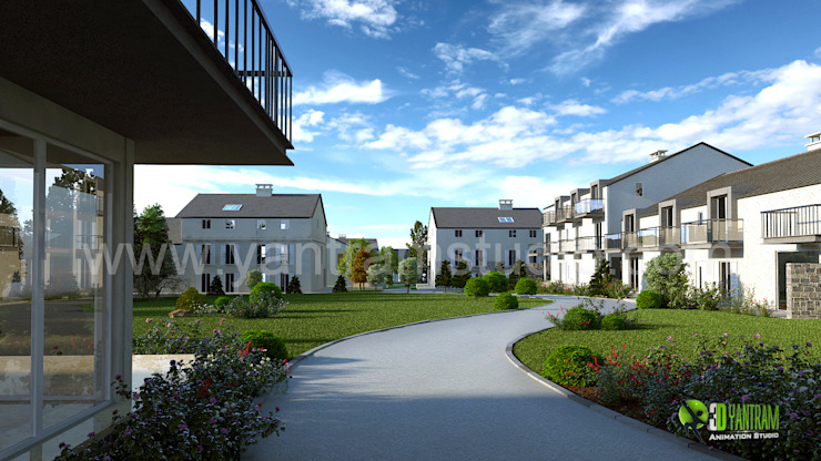 Residential Exterior Rendering 3D Design: modern  by Yantram Architectural Design Studio, Modern