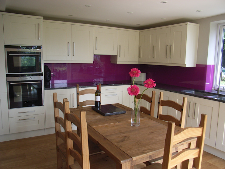 Shaker kitchen with purple glass splashback by Style Within Classic