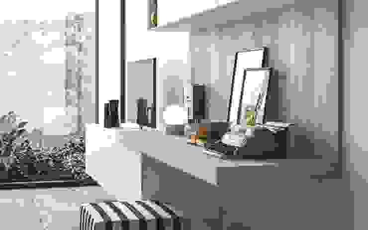 Ambiente Living (C) - dettaglio angolo home office Soggiorno in stile scandinavo di Nova Cucina Scandinavo