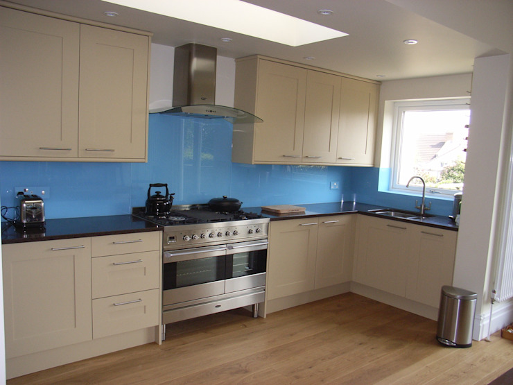 Contemporary kitchen with blue splashback by Style Within Classic