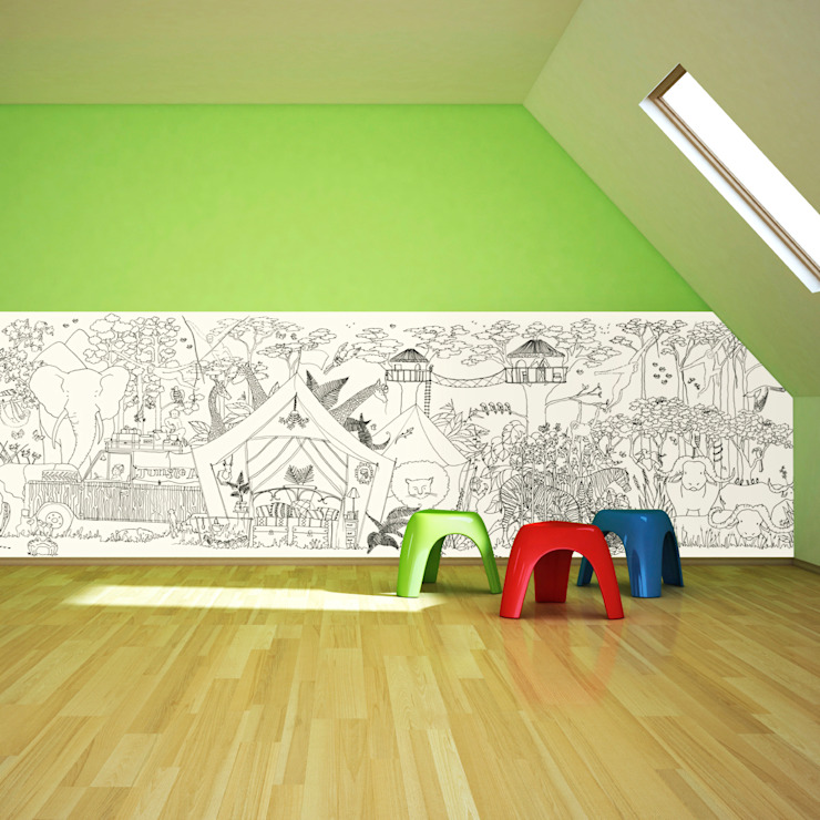 Jungle Half Wall Wallpaper Oleh Funwall