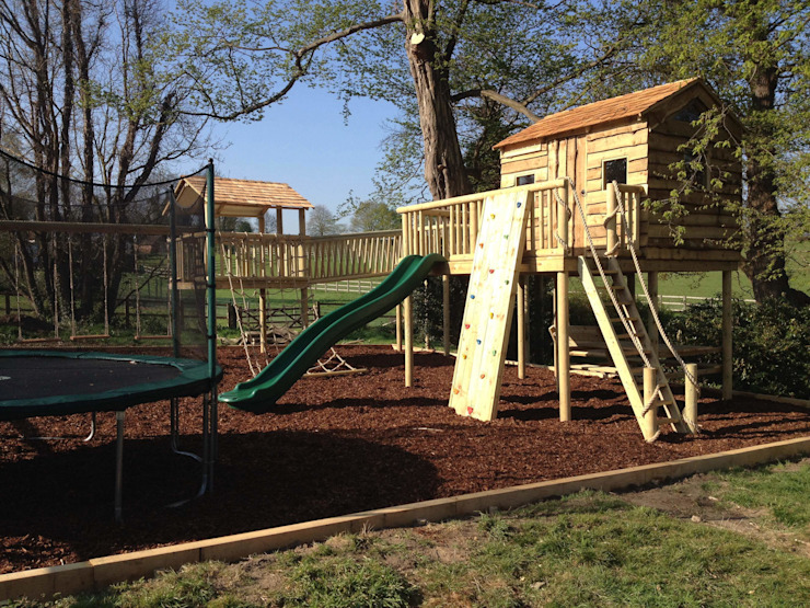 Treehouse With Rock Wall, Premium Slide and Stairway Gardenatics Limited Country style garden