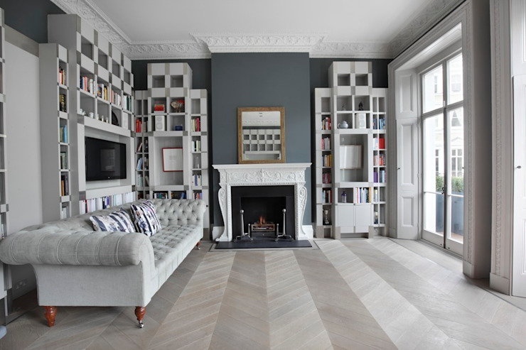 Chevron laid Ash Grey Flooring by homify Classic