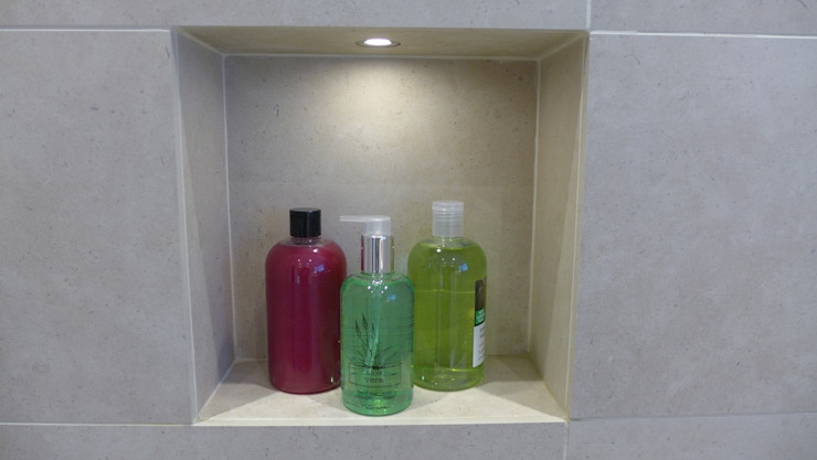 shower niche for shampoos Modern style bathrooms by Style Within Modern