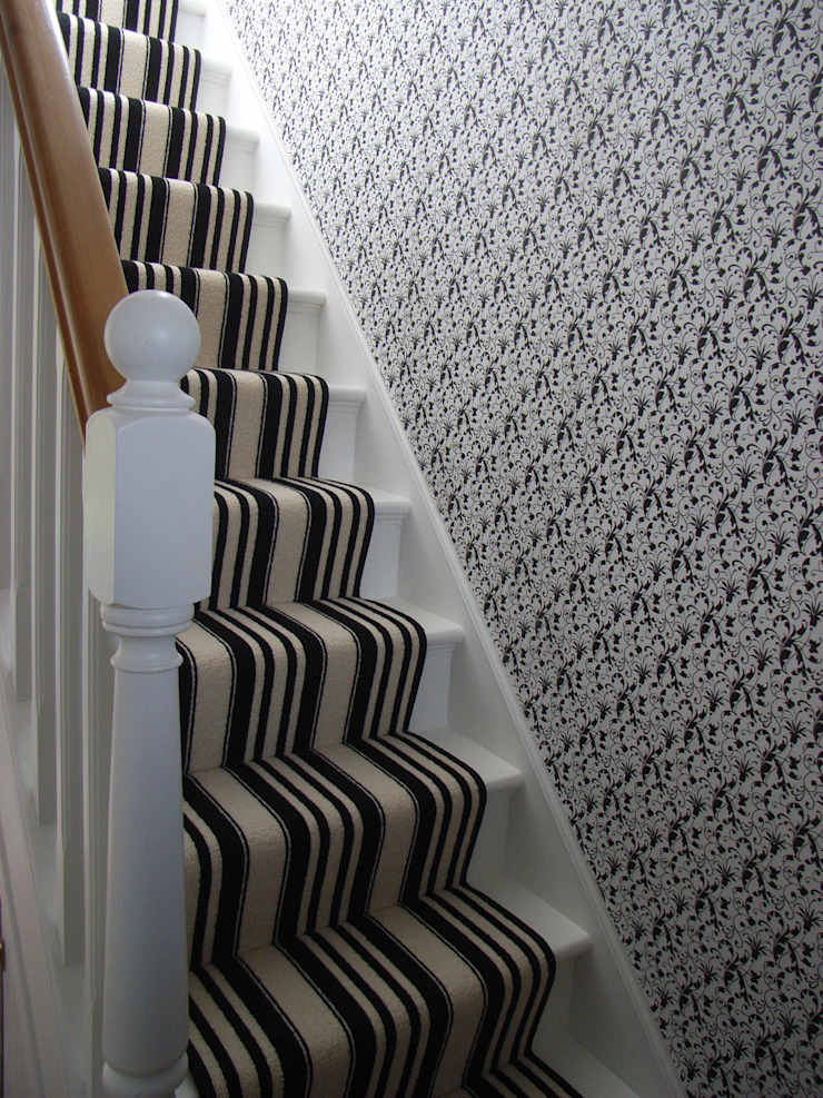 black and white striped stair carpet runner Style Within Modern corridor, hallway & stairs