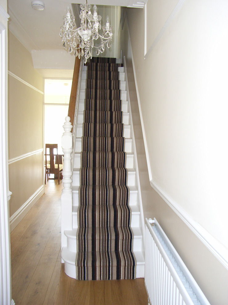 Striped stair carpet Style Within Modern corridor, hallway & stairs