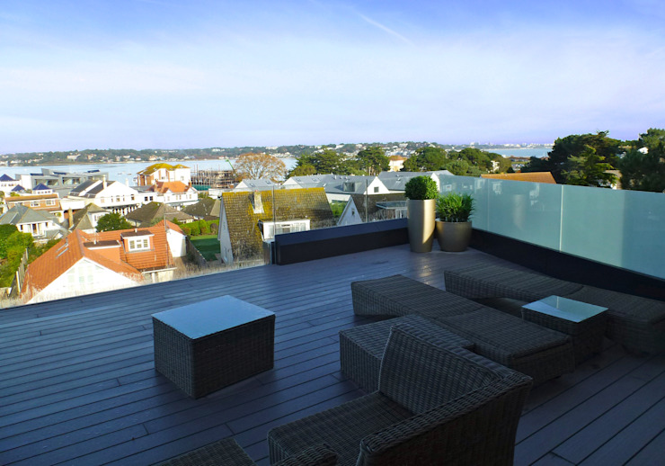 Banks Road, Sandbanks, Poole Balcon, Veranda & Terrasse modernes par David James Architects & Partners Ltd Moderne